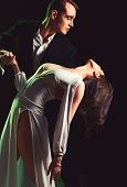 The Romantic Drama. Couple In Love With Mime Makeup. Couple Of Mime Artists Perform Romance On Stage poster