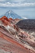One Of The Active Volcanoes Of Kamchatka. Volcanoes Of Kamchatka Are Fascinating. Their Mysteriousne poster