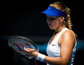 MELBOURNE - JANUARY 21: Sabine Lisicki of Germany in her third round win over Svetlana Kuznetsova of