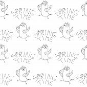 Cute Cartoon Spring Bird Pattern With Hand Drawn Dancing Birds. Sweet Vector Black And White Spring  poster