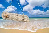 Sinal de praia de madeira com estrela do mar contra uma praia idílica de Verão