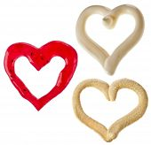 Jam , mayonnaise , mustard spicy sauce , heart shaped on white background poster