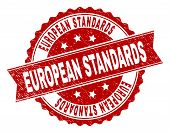European Standards Seal Print With Corroded Texture. Rubber Seal Imitation Has Round Medal Shape And poster