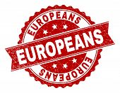 Europeans Seal Print With Distress Texture. Rubber Seal Imitation Has Circle Medallion Shape And Con poster