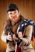 American White Trash Holding Gun Wearing Flag
