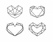Geometric Heart Shapes Collection. Set Of Heart Logos In Vector. Heart Logo Symbol And Icons Valenti poster
