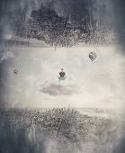 Relaxed Man Meditate Seated On A Floating Cloud Between Two Imaginary Parallel Worlds, Keeps Eyes Cl poster