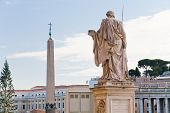 View Egyptian Obelisk On St.peter Square From Piazza Pio, Vatican, Italy