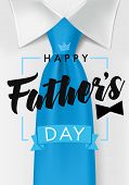 Happy Father Day Card With Dark Teal Necktie And Black Bow. Happy Fathers Day Text On White Shirt Ba poster