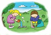children, cleans up the environment after the picnic