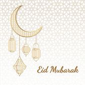 Eid Mubarak Greeting Card. Eid Mubarak Islamic Greeting Background With Moon And Arabic Gold Lantern poster