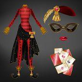 Female Joker, Harlequin Suit Realistic Vector. Tight, Red Checkered Dress, Black Skirt With Golden B poster
