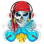 illustration of skull wearing headphone and violin