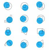 Illustration Of 12 Music Icons Line Style. Editable Set Of Microphone, Previous, Volume Down And Oth poster