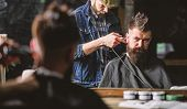 Hipster Client Getting Haircut. Barber With Clipper Trimming Hair On Nape Of Client. Hipster Hairsty poster
