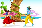illustration of Radha and Lord Krishna playing holi in garden