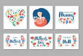 Young Woman Holding Flowers. Mothers Day Greeting Card. Lettering Text. Happy Mothers Day. Lettering poster