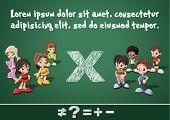 Math symbols and kids on green blackboard. Boys versus girls.