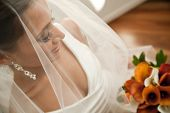 Beautiful Bride Looking Through Her Veil At Her Bouquet