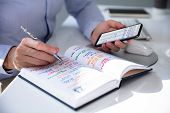 Close-up Of Person Hands With Mobile Phone And List Of Work In Diary poster