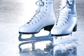 Dramatic Landscape Blue Shot Of Ice Skates