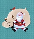 Santa snuggled into polar bear, bird and retro pattern background