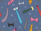 Background Illustration of Neckties and Bowties