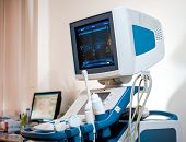 stock photo of ultrasonic  - Photo of medical ultrasonography machine at hospital - JPG