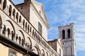 Detail Of Facade Of Ferrara Cathedral From Piazza Trento Trieste