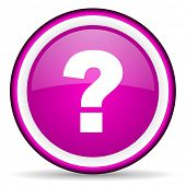 question mark violet glossy icon on white background