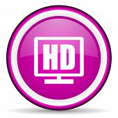 hd display violet glossy icon on white background