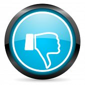thumb down blue glossy circle icon on white background