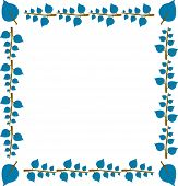 Drawing Of Blue Leaves And Twiggs Formed In Square Frame