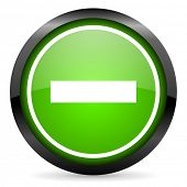 minus green glossy icon on white background