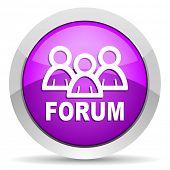 forum violet glossy icon on white backgrou