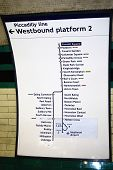 A Plan Of Piccadilly Line Of London Underground
