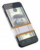 Money in black mobile phone