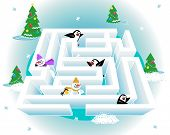 foto of brain teaser  - Help every snowman and every penguin get out of the ice maze - JPG