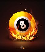stock photo of snooker  - Vector burning billiard ball on a dark background - JPG