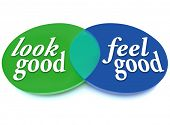 A Venn diagram of overlapping circles with the words Look Good and Feel Good showing the intersectin