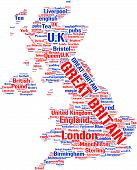 Word cloud based map of United Kingdom