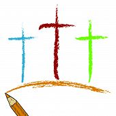image of calvary  - Doodle style Christian Calvary crosses sketch in vector format - JPG