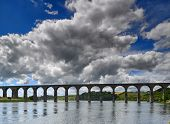 Victorian Arched Railway Bridge On The River Tweed