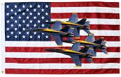 picture of blue angels  - US Navy Blue Angels in tight formation and American Flag in composite - JPG