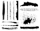 Set Of Grunge Ink Brush Strokes
