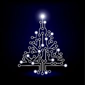 A Christmas tree circuit board on blue green background. EPS10 vector format