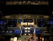 Flight Deck Of A Modern Airliner At Night.