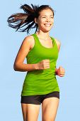 stock photo of long distance  - Running woman - JPG