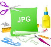Jpg. Paper template. Raster illustration.