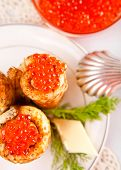 Snack With Russian Pancakes And Red Caviar